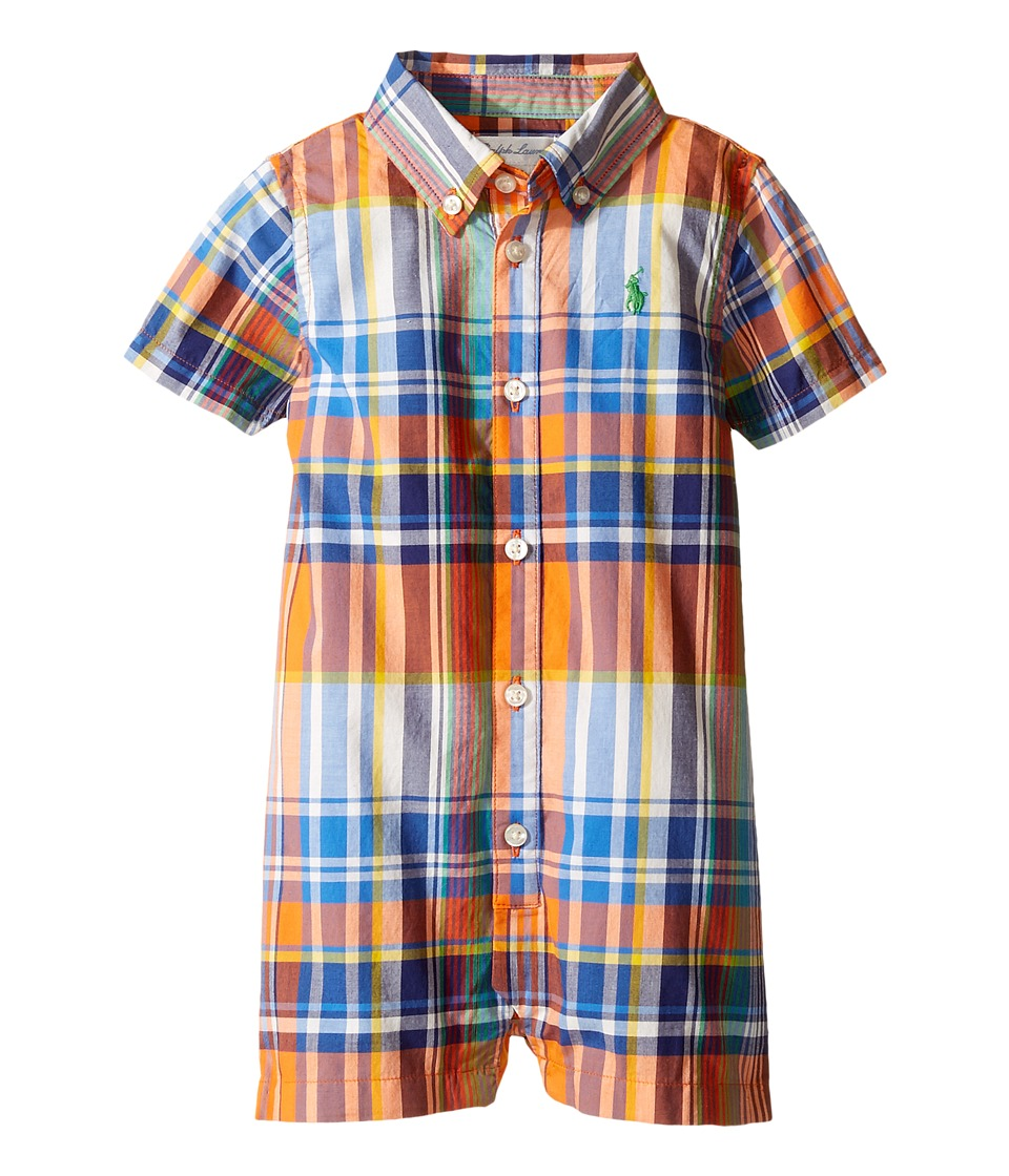 Ralph Lauren Baby - Poplin Plaid One-Piece Shortalls (Infant) (Orange/Royal Multi) Boy's Overalls One Piece