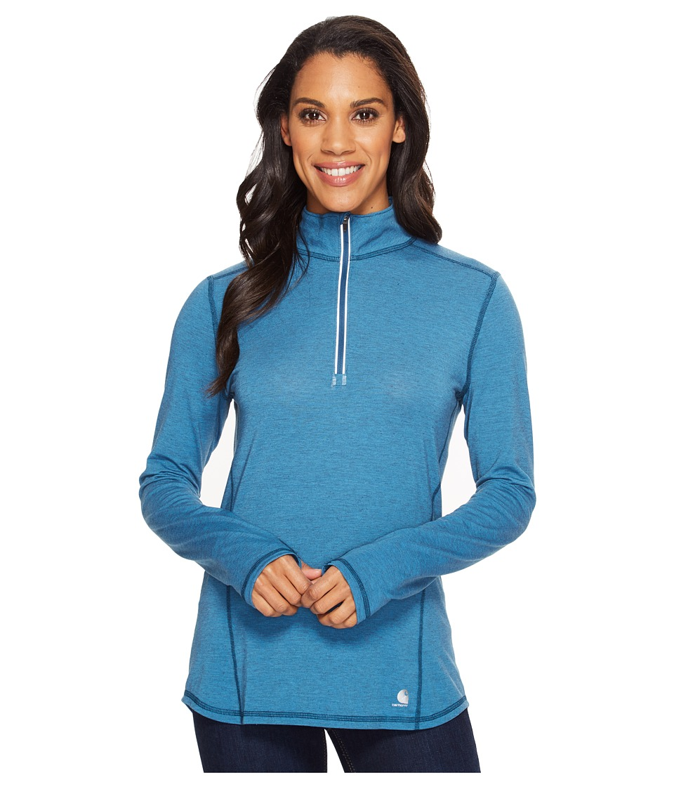 Carhartt - Force Ferndale 1/4 Zip Shirt (Stream Blue Heather) Women's Long Sleeve Pullover