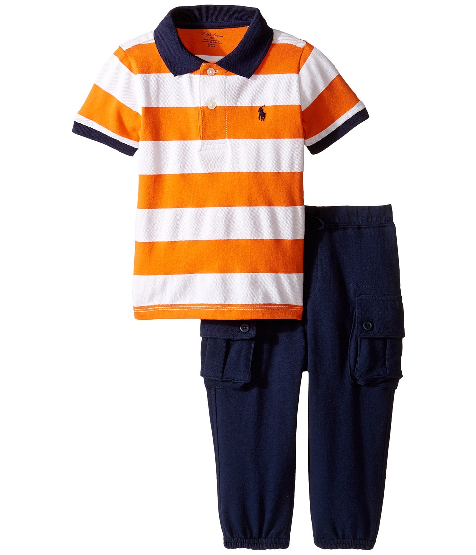 Ralph Lauren Baby - Mesh Atlantic Terry Stripe Pants Set (Infant) (White/Bright Signal Orange) Boy's Active Sets