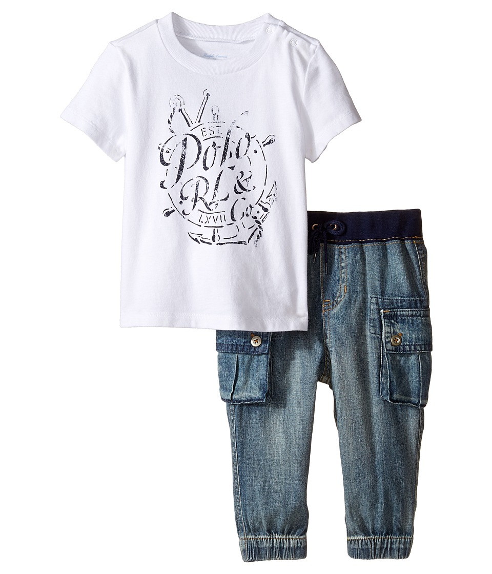 Ralph Lauren Baby - Jersey Graphic Tee Denim Pants Set (Infant) (White/Indigo) Boy's Active Sets