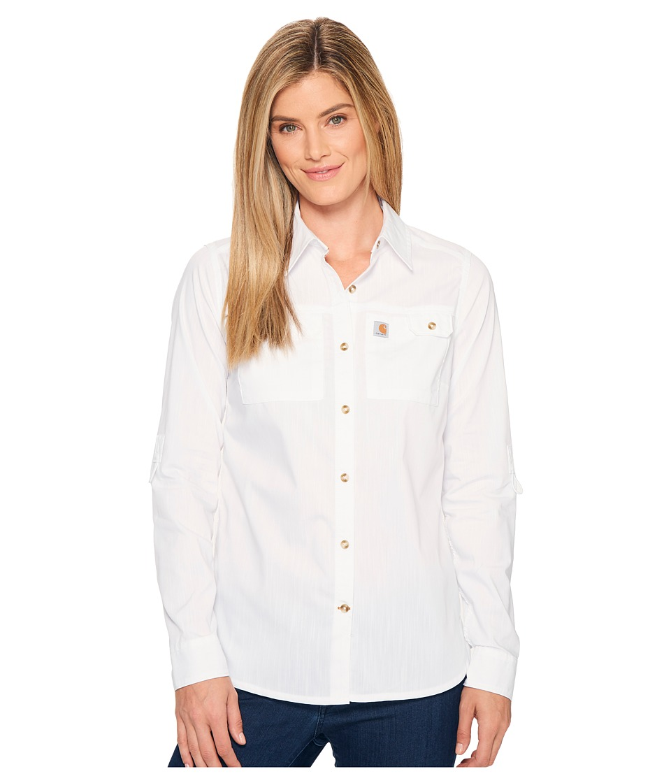 Carhartt - Force Ridgefield Shirt (White) Women's Long Sleeve Button Up