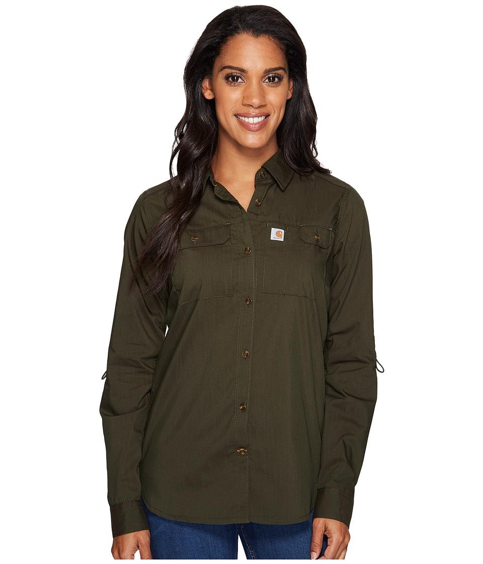 Carhartt - Force Ridgefield Shirt (Olive) Women's Long Sleeve Button Up