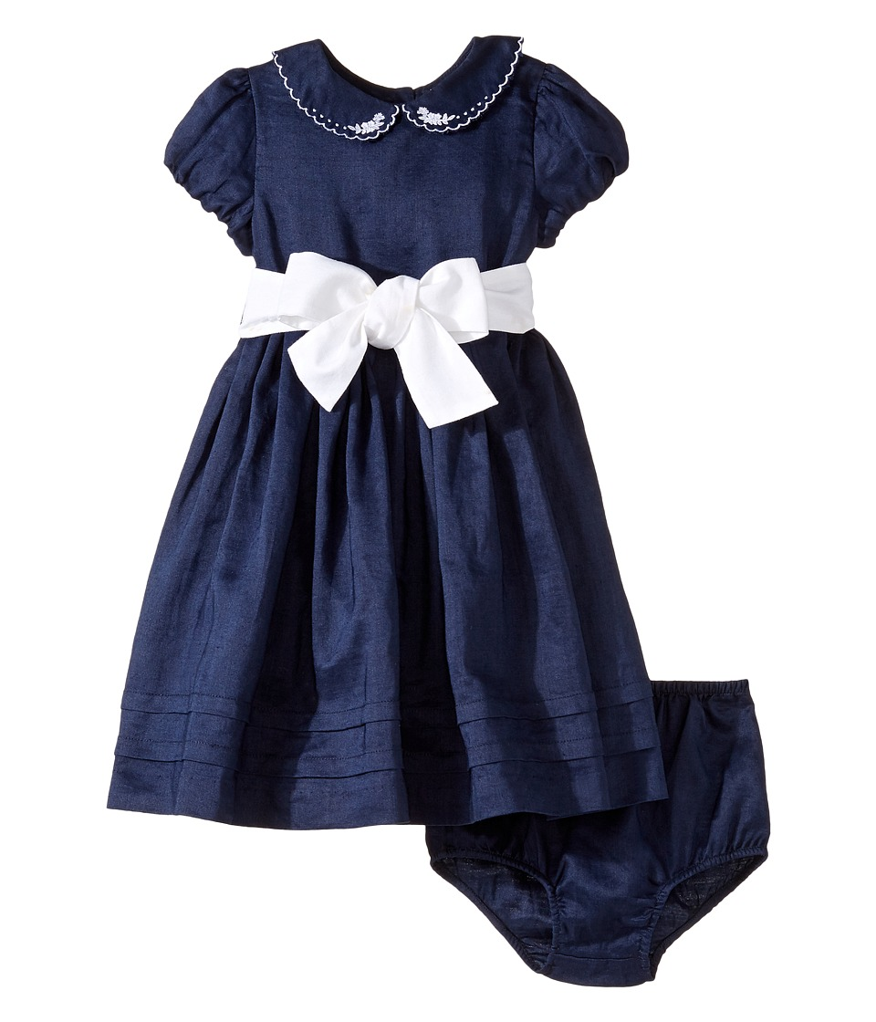 Ralph Lauren Baby - Ramie Linen Woven Dress (Infant) (French Navy) Girl's Dress