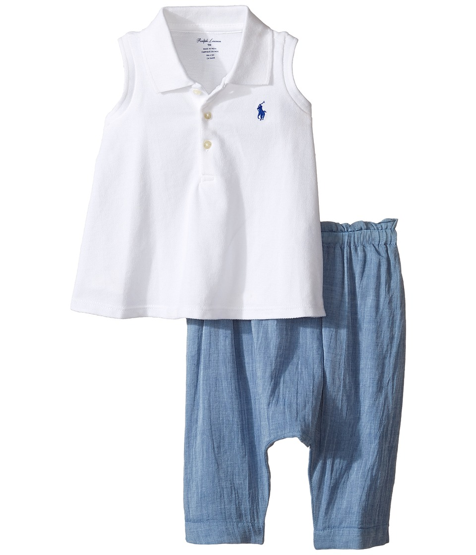 Ralph Lauren Baby - Chambray Smocked Pants Set (Infant) (White) Girl's Active Sets