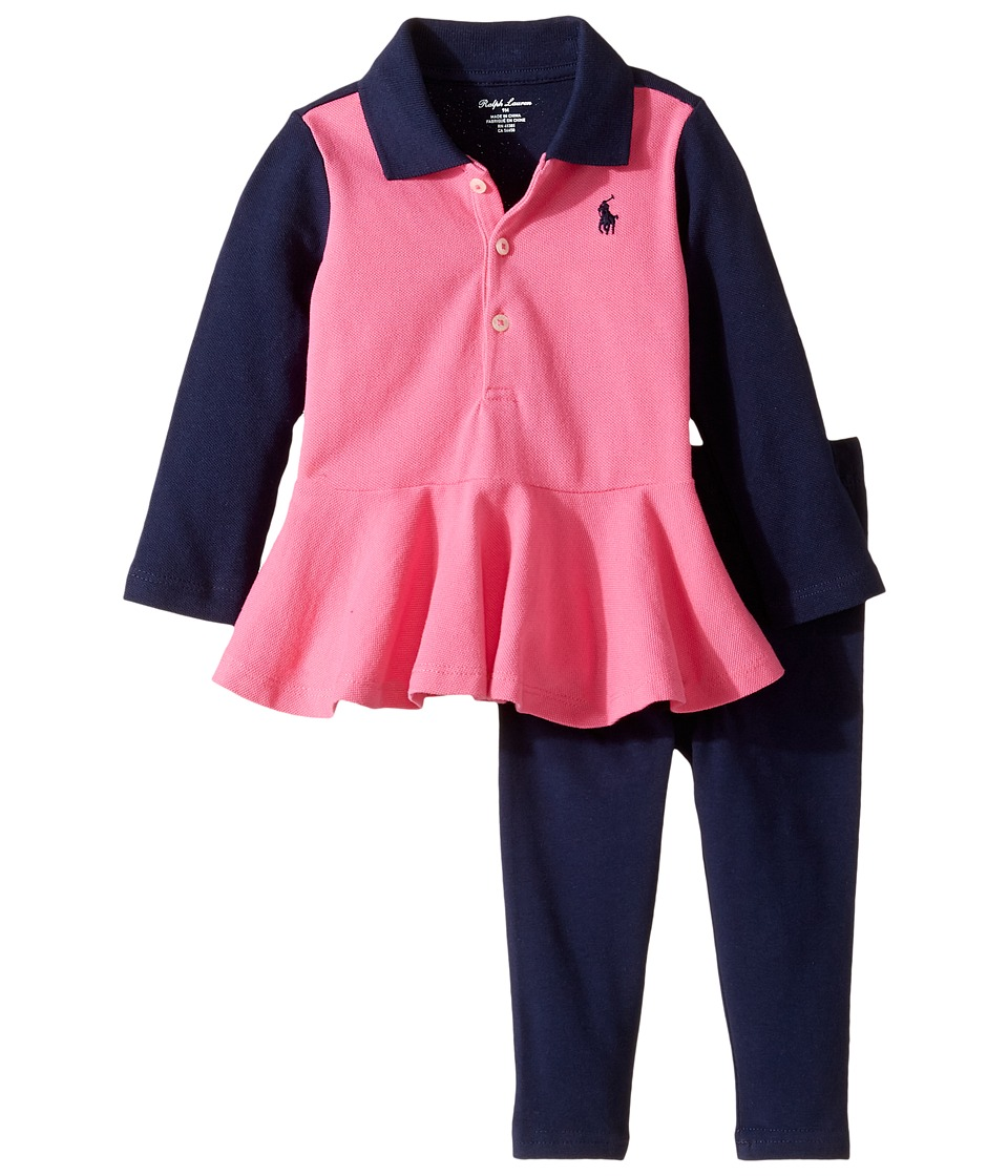 Ralph Lauren Baby - Cotton Jersey Jodhpur Leggings Set (Infants) (Desert Pink/French Navy) Girl's Active Sets