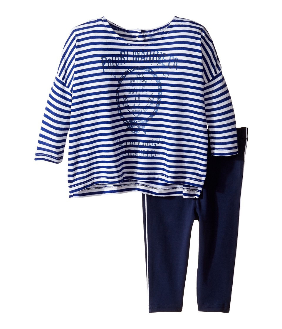 Ralph Lauren Baby - Interlock Graphic Boxy Leggings Set (Infant) (White/Active Royal) Girl's Active Sets