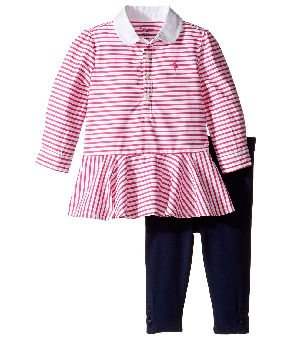 Ralph Lauren Baby - Cotton Jersey Stripe Tunic Leggings Set (Infant) (White/Desert Pink) Girl's Active Sets