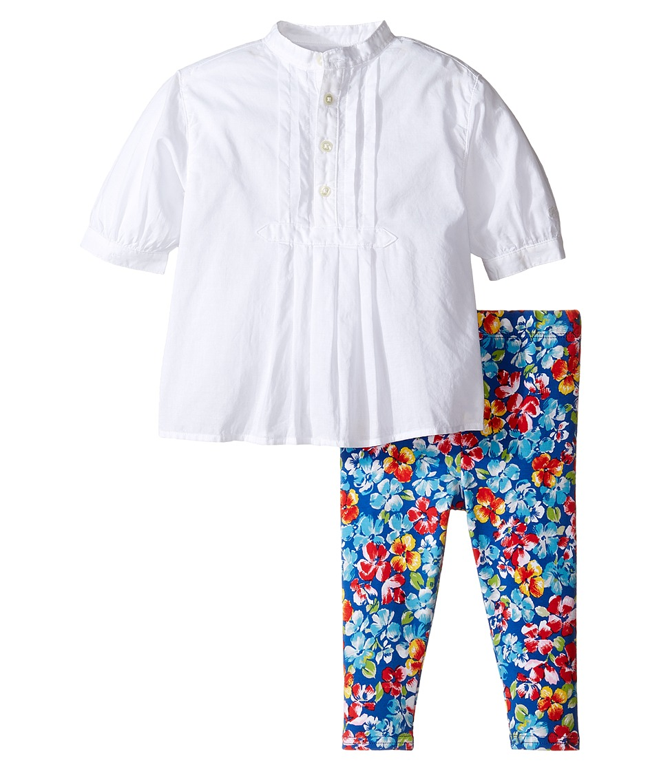 Ralph Lauren Baby - Cotton Jersey Pintuck Leggings Set (Infant) (White) Girl's Active Sets