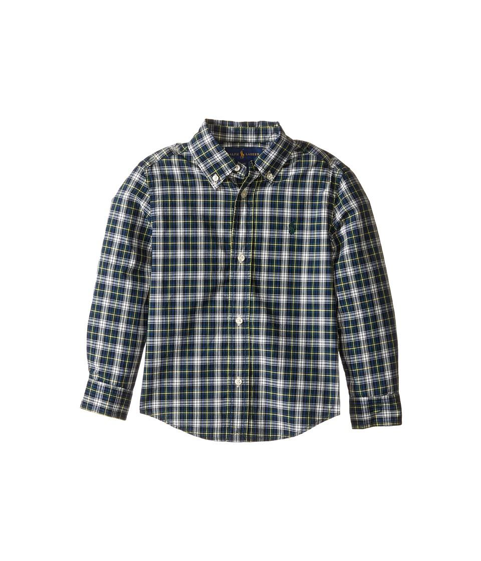 Polo Ralph Lauren Kids - Poplin Long Sleeve Button Down Shirt (Toddler) (Green/White Multi) Boy's Long Sleeve Button Up