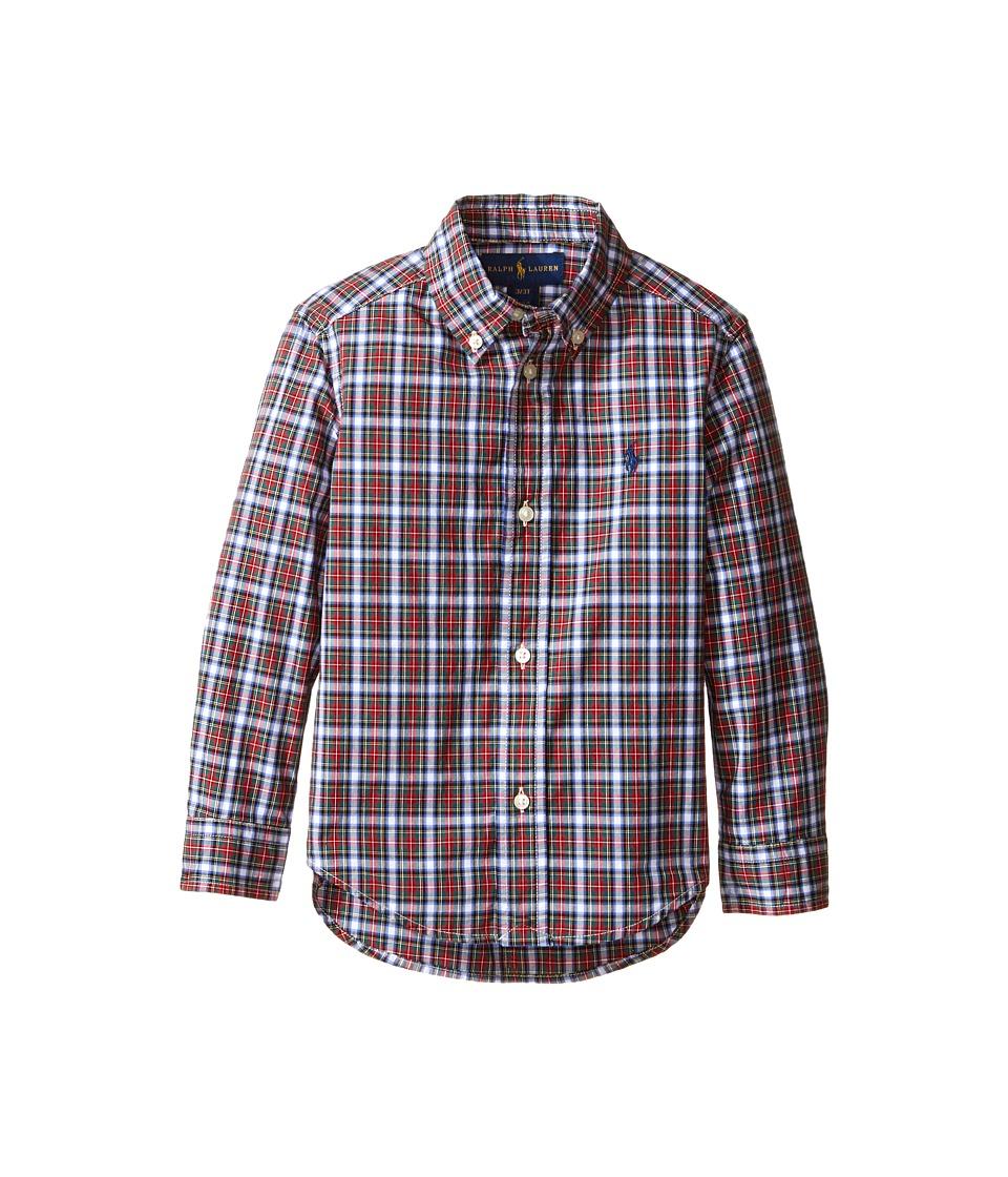 Polo Ralph Lauren Kids - Poplin Long Sleeve Button Down Shirt (Toddler) (Red/White Multi) Boy's Long Sleeve Button Up