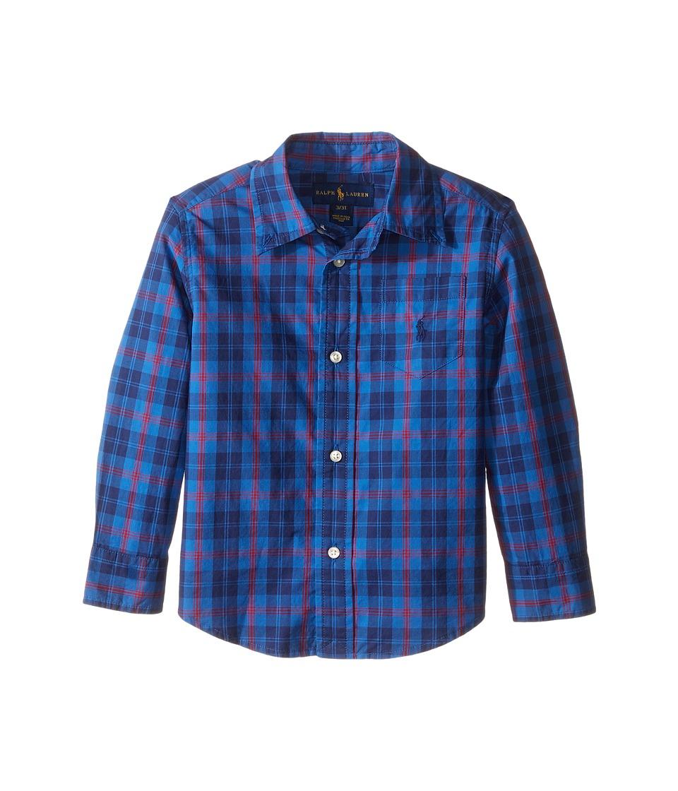 Polo Ralph Lauren Kids - Poplin Long Sleeve Button Down Shirt (Toddler) (Royal/Navy/Multi) Boy's Long Sleeve Button Up
