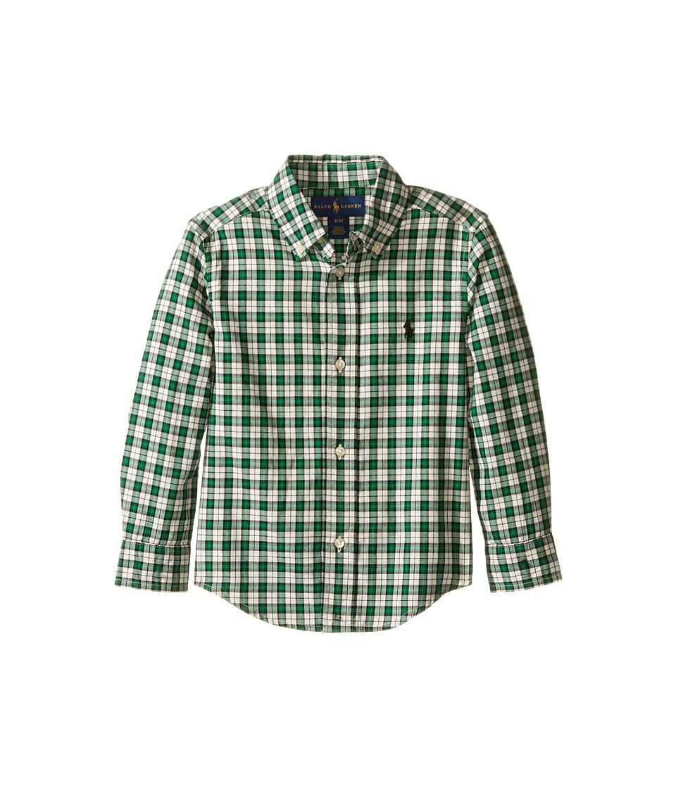 Polo Ralph Lauren Kids - Yarn-Dyed Twill Long Sleeve Button Down Shirt (Toddler) (Green/Cream Multi) Boy's Long Sleeve Button Up