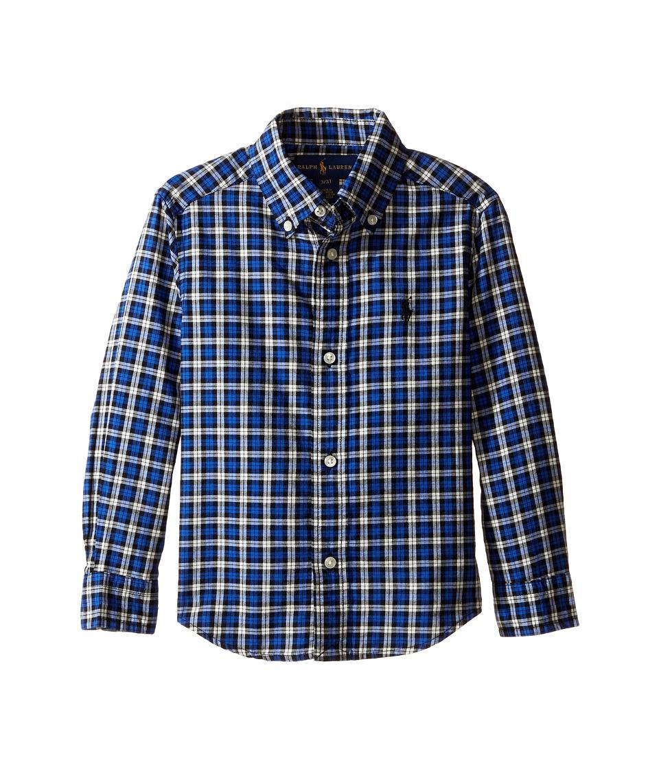 Polo Ralph Lauren Kids - Yarn-Dyed Twill Long Sleeve Button Down Shirt (Toddler) (Royal/Black Multi) Boy's Long Sleeve Button Up
