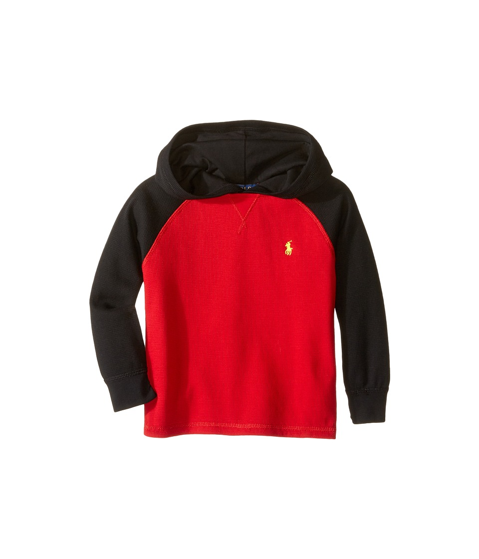Polo Ralph Lauren Kids - Waffle Long Sleeve Hooded Pullover (Toddler) (Cruise Red) Boy's Sweatshirt