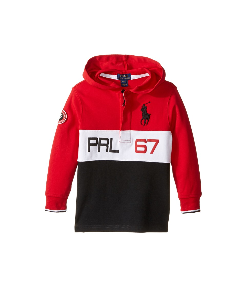 Polo Ralph Lauren Kids - Jersey Long Sleeve Hooded Rugby (Toddler) (Cruise Red) Boy's Long Sleeve Pullover