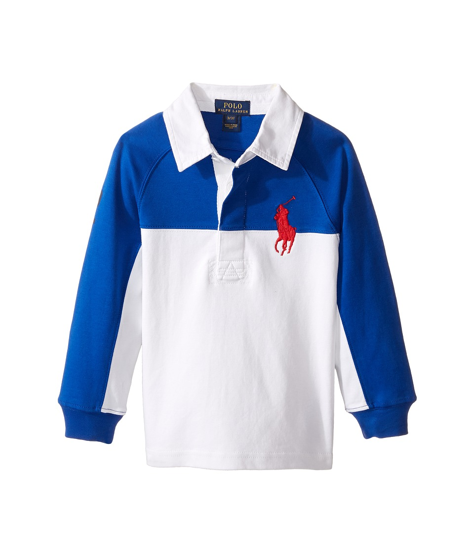 Polo Ralph Lauren Kids - Jersey Raglan Rugby (Toddler) (Sapphire Star) Boy's Long Sleeve Pullover