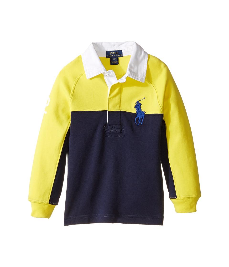 Polo Ralph Lauren Kids - Jersey Raglan Rugby (Toddler) (Active Yellow) Boy's Long Sleeve Pullover