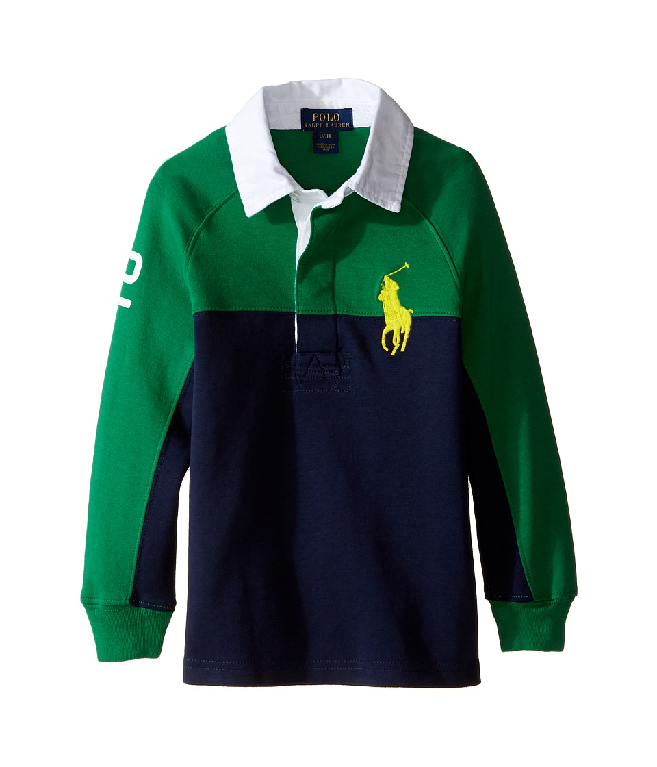 Polo Ralph Lauren Kids - Jersey Raglan Rugby (Toddler) (Parrot Green) Boy's Long Sleeve Pullover