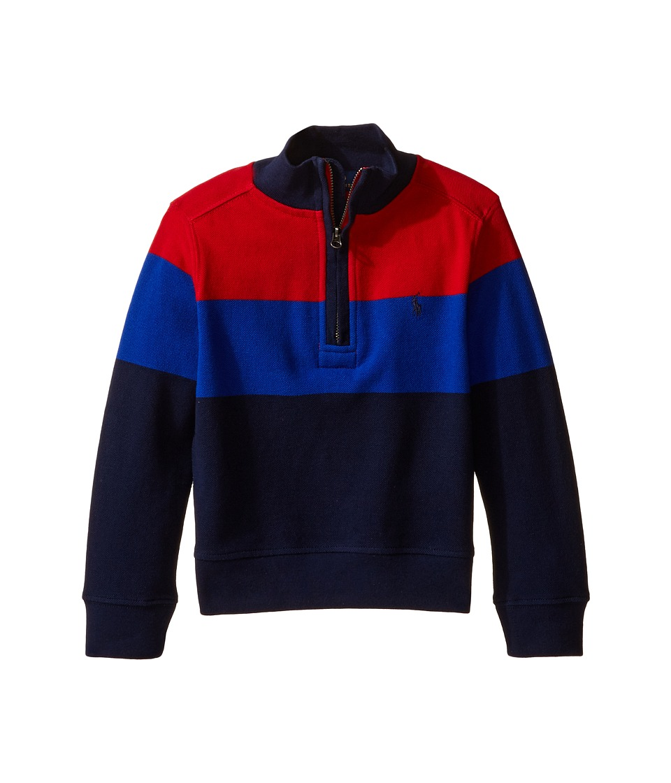 Polo Ralph Lauren Kids - Yarn-Dyed Long Sleeve 1/2 Zip (Toddler) (Cruise Red) Boy's Long Sleeve Pullover