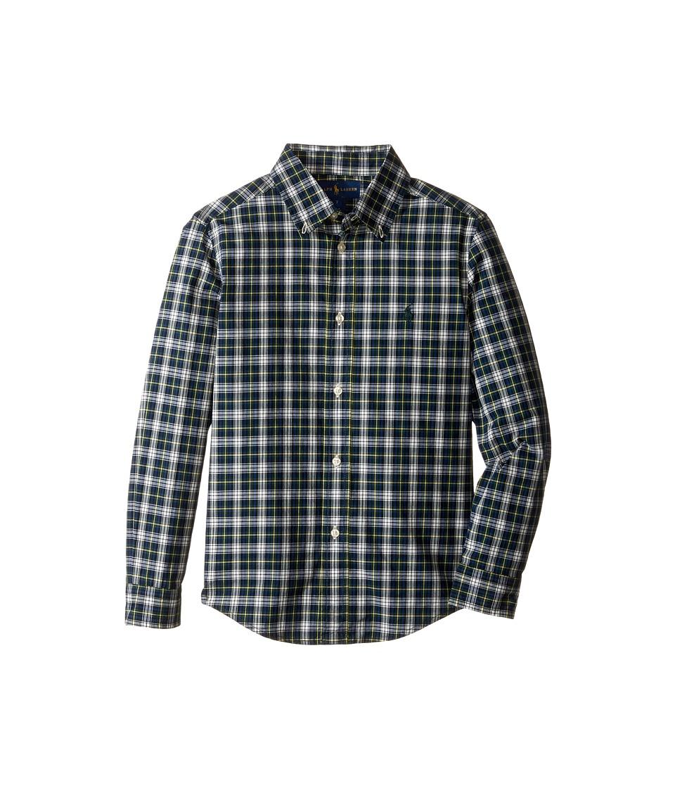 Polo Ralph Lauren Kids - Poplin Long Sleeve Button Down Shirt (Little Kids/Big Kids) (Green/White Multi) Boy's Long Sleeve Button Up