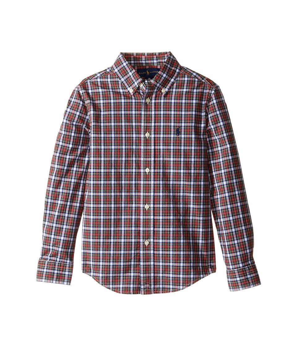Polo Ralph Lauren Kids - Poplin Long Sleeve Button Down Shirt (Little Kids/Big Kids) (Red/White Multi) Boy's Long Sleeve Button Up