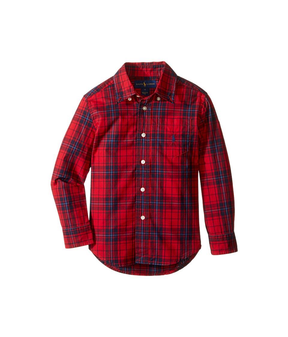 Polo Ralph Lauren Kids - Poplin Long Sleeve Button Down Shirt (Little Kids/Big Kids) (Red/Navy Multi) Boy's Long Sleeve Button Up