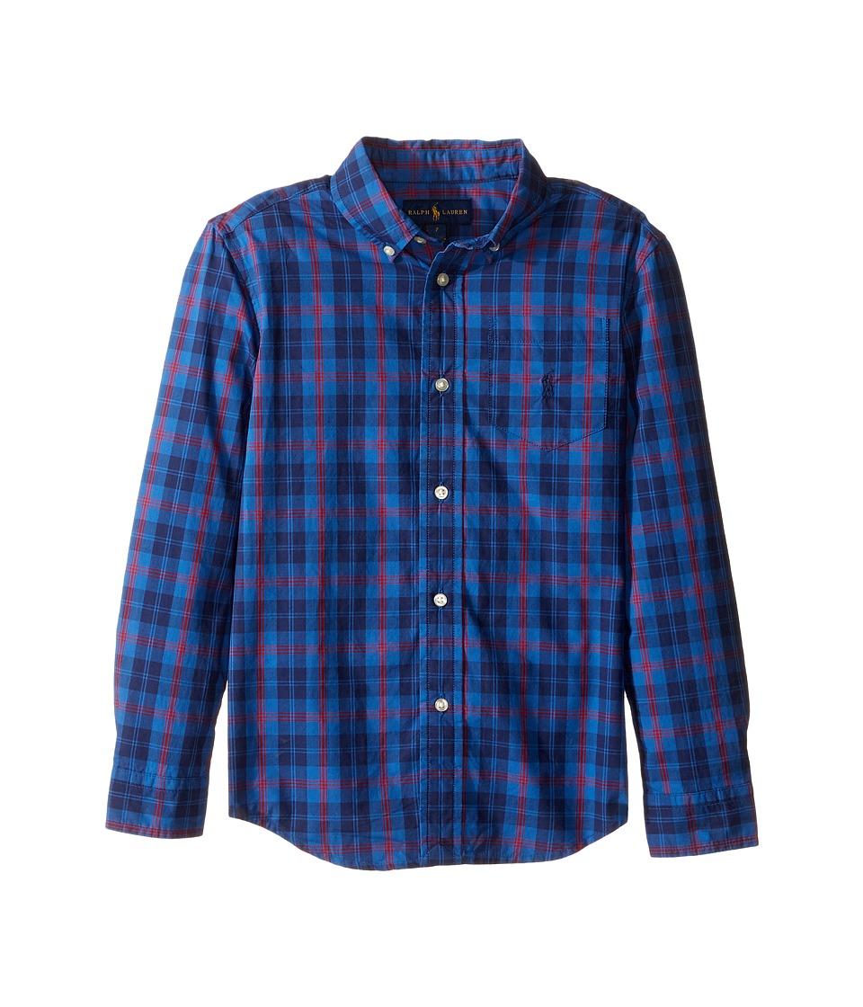 Polo Ralph Lauren Kids - Poplin Long Sleeve Button Down Shirt (Little Kids/Big Kids) (Royal/Navy/Multi) Boy's Long Sleeve Button Up