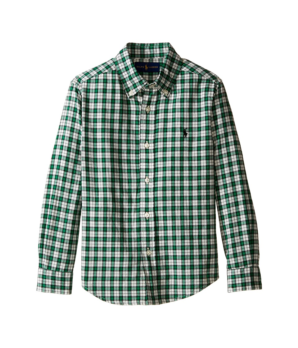 Polo Ralph Lauren Kids - Yarn-Dyed Twill Long Sleeve Button Down Shirt (Little Kids/Big Kids) (Green/Cream Multi) Boy's Long Sleeve Button Up