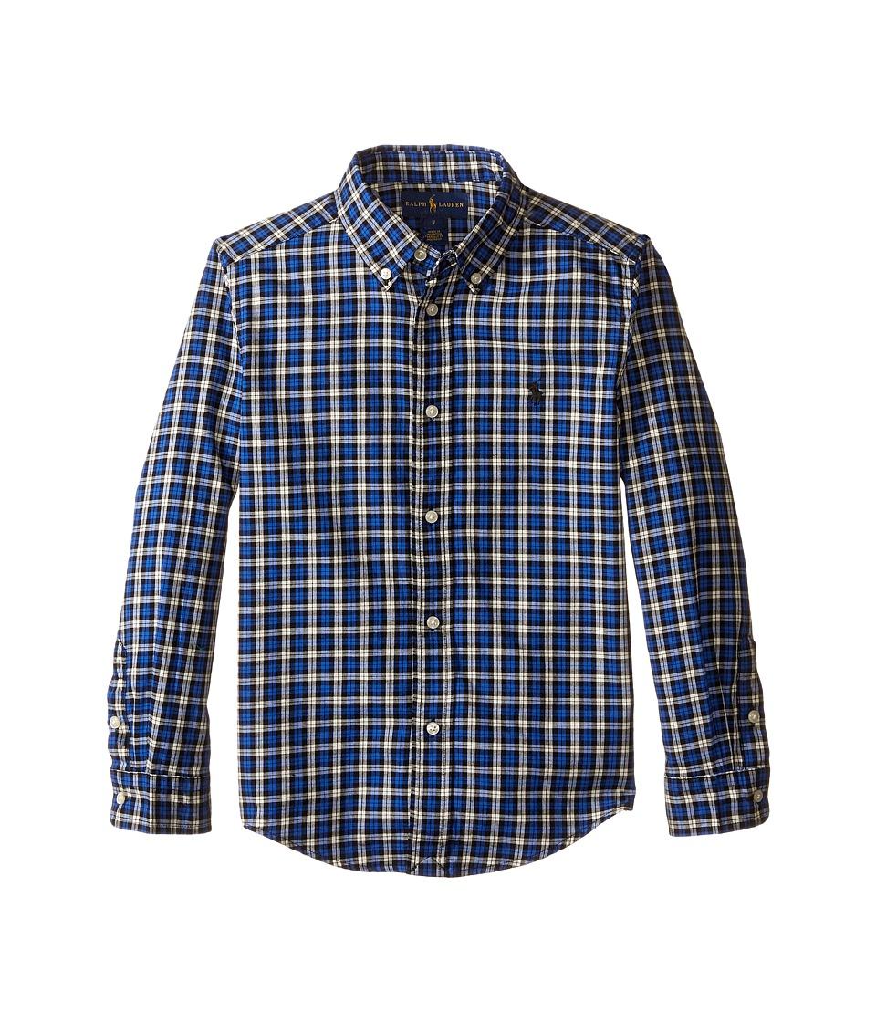 Polo Ralph Lauren Kids - Yarn-Dyed Twill Long Sleeve Button Down Shirt (Little Kids/Big Kids) (Royal/Black Multi) Boy's Long Sleeve Button Up