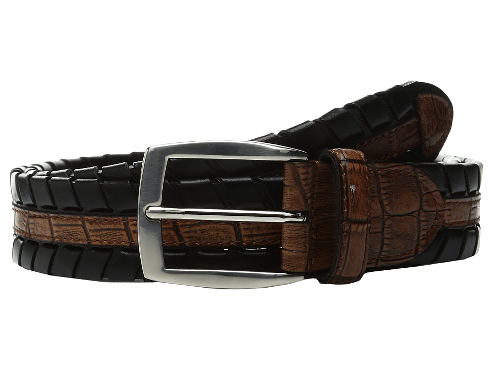 Torino Leather Co. - 35mm Laced Harness Leather with Gator Embossed Inset (Black/Tan) Men's Belts