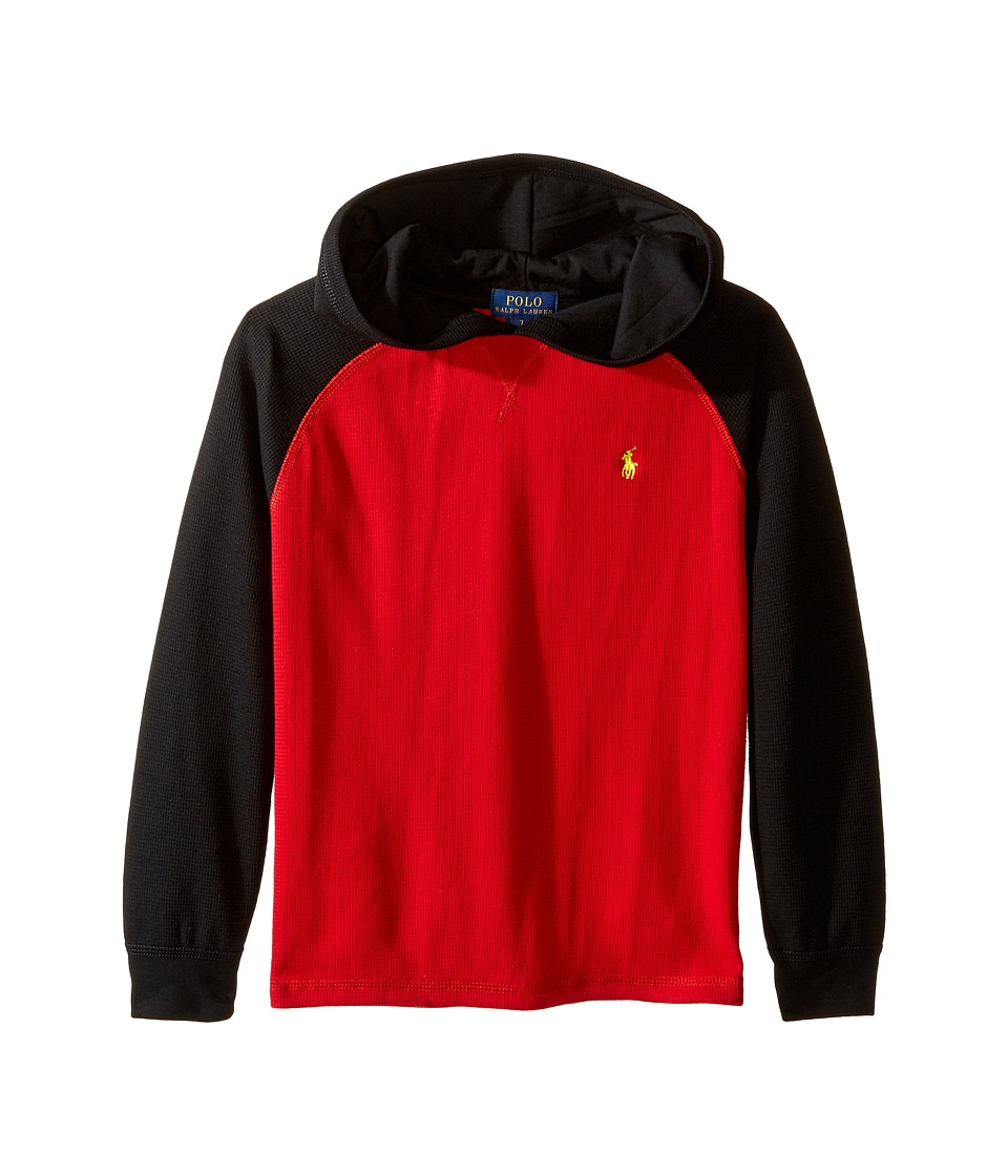 Polo Ralph Lauren Kids - Waffle Long Sleeve Hooded Pullover (Little Kids/Big Kids) (Cruise Red) Boy's Long Sleeve Pullover