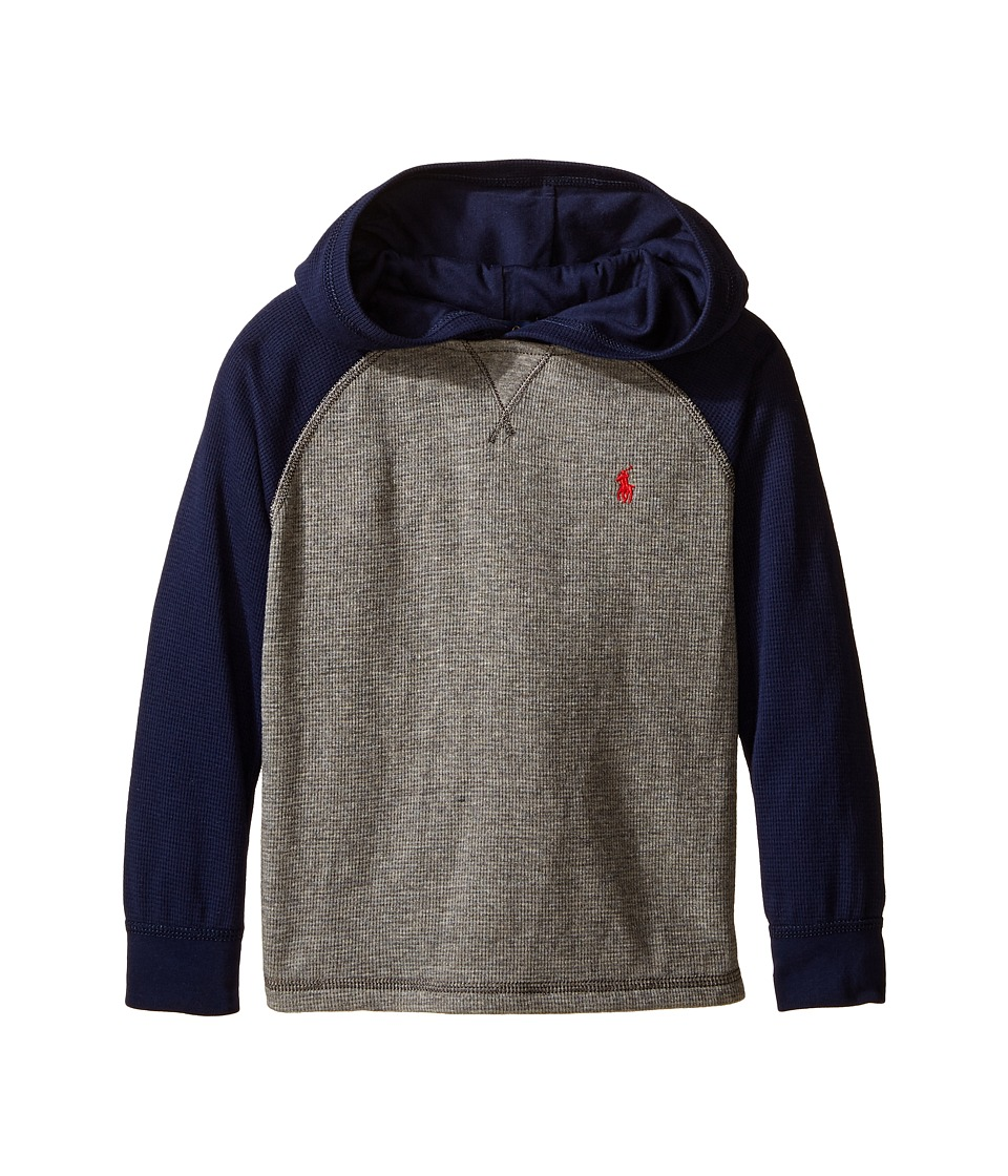Polo Ralph Lauren Kids - Waffle Long Sleeve Hooded Pullover (Little Kids/Big Kids) (Battalion Heather) Boy's Long Sleeve Pullover