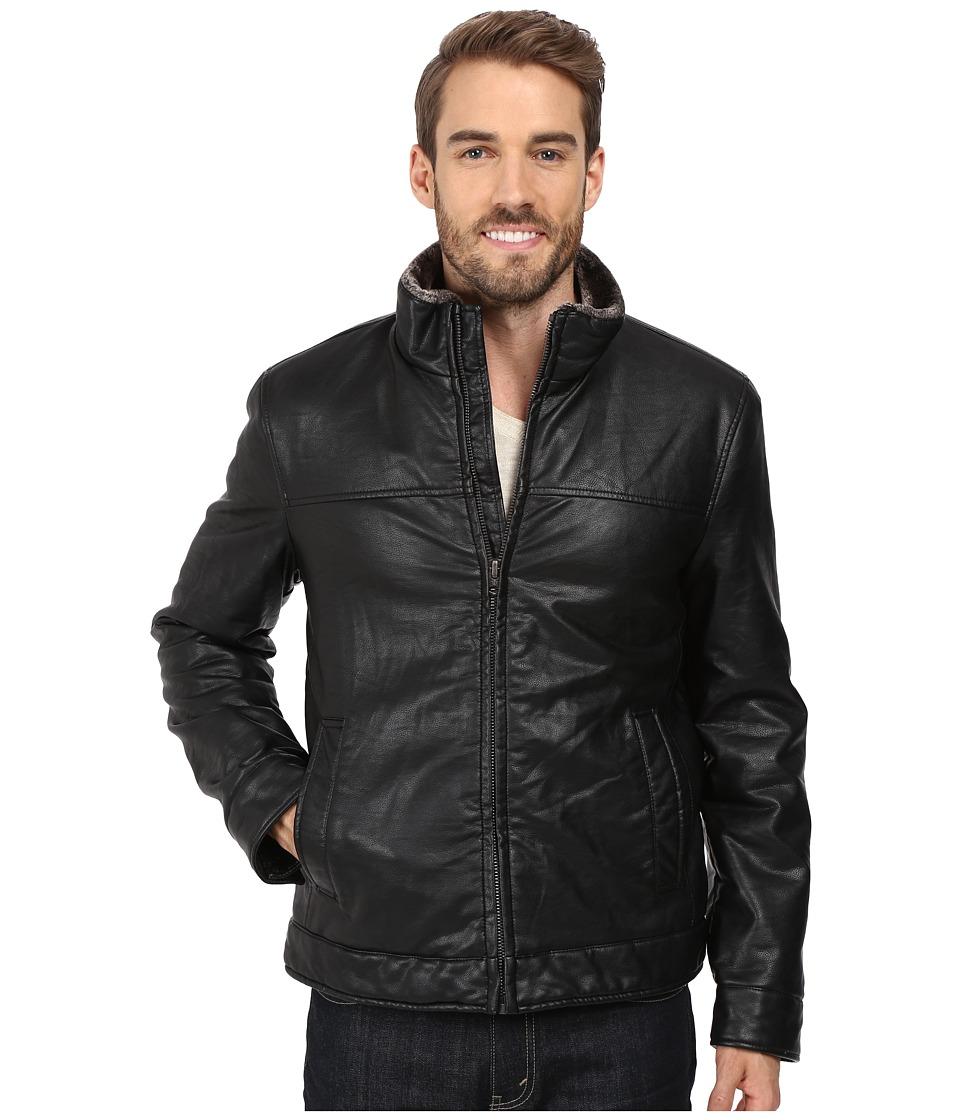 Dockers - Stand Collar Zip Front Jacket w/ Full Pile Lining (Black) Men's Coat