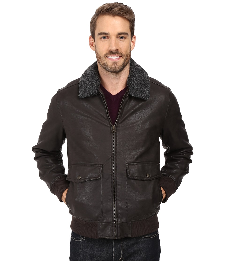 Dockers - Two-Pocket Laydown Collar Aviator Bomber w/ Removable Sherpa Collar (Dark Brown) Men's Coat