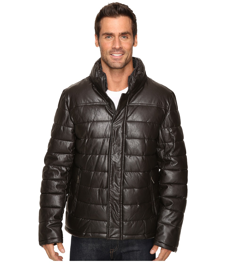 Dockers - Fly Front Quilted Puffer w/ Sherpa Lined Collar (Dark Brown) Men's Coat