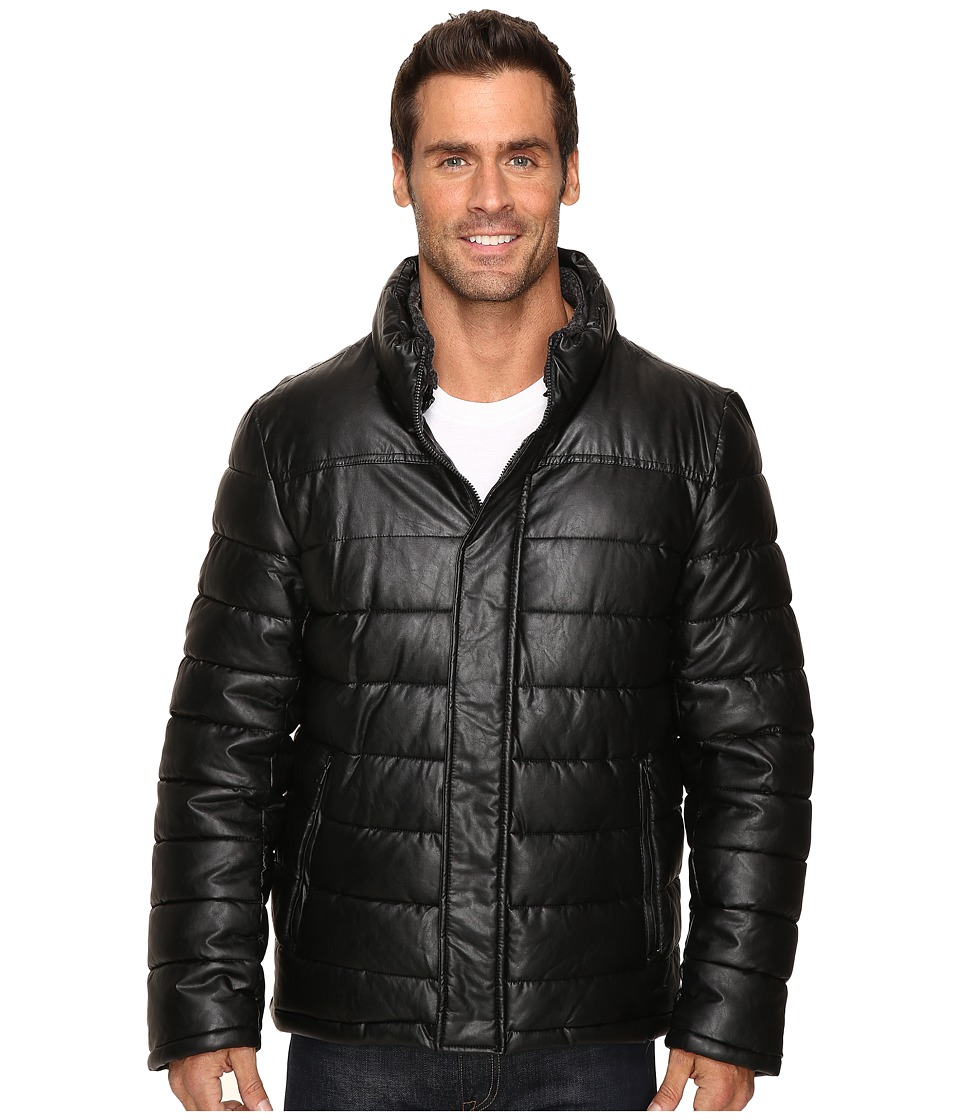 Dockers - Fly Front Quilted Puffer w/ Sherpa Lined Collar (Black) Men's Coat