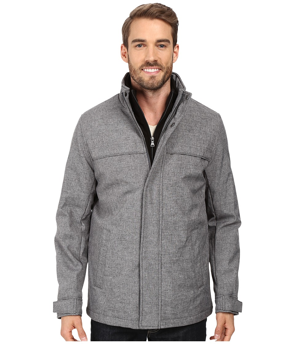 Dockers - Stand Collar Zip Front with Attached Fleece Bib (Heather Grey) Men's Coat