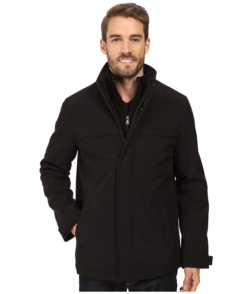 Dockers - Stand Collar Zip Front with Attached Fleece Bib (Black) Men's Coat