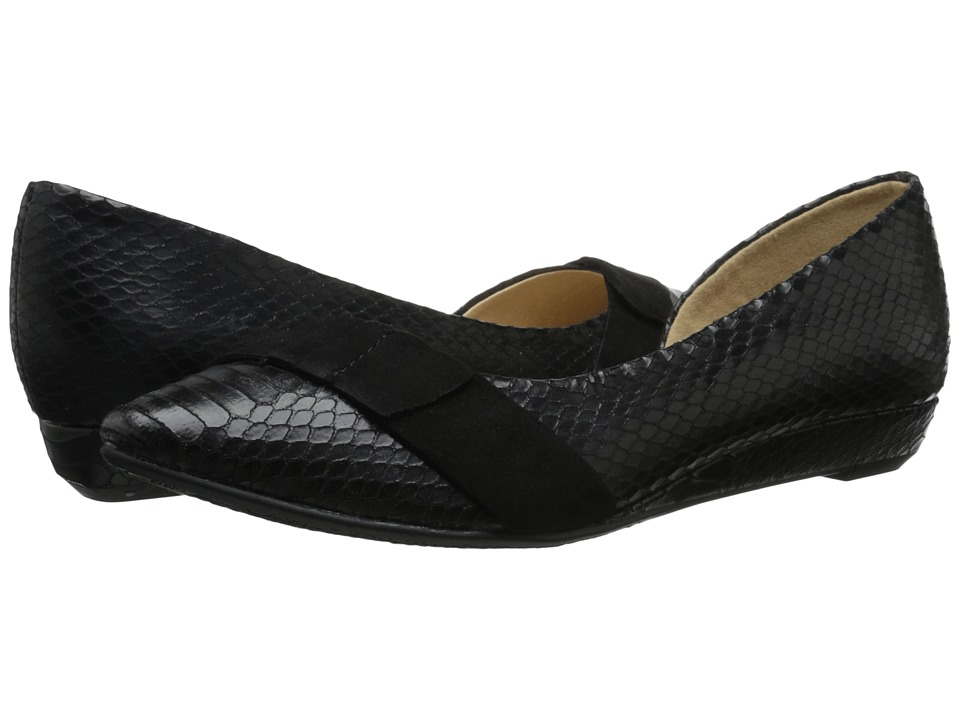 CL By Laundry - Sassy Anaconda (Black/Black Suede) Women's Wedge Shoes