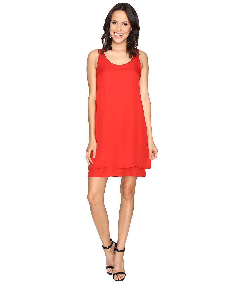 HEATHER - Double Layer Silk Scoop Neck Dress (Poppy) Women's Dress