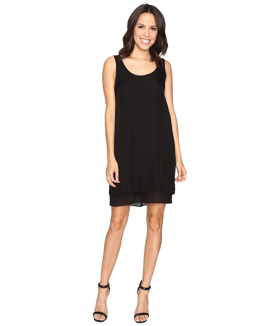 HEATHER - Double Layer Silk Scoop Neck Dress (Black) Women's Dress