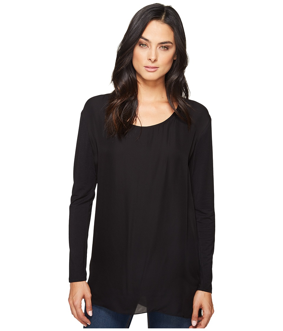 HEATHER - Long Sleeve Silk Layered Slouchy Top (Black) Women's Clothing