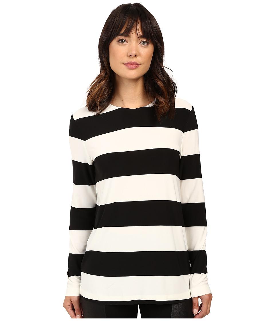 KAMALIKULTURE by Norma Kamali - Long Sleeve Crew Top (3 Ivy/Black Stripe) Women's Clothing