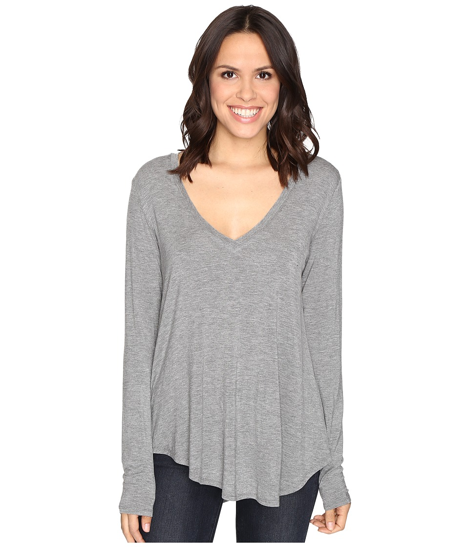 HEATHER - Long Sleeve V-Neck Tee (Light Heather Grey) Women's T Shirt