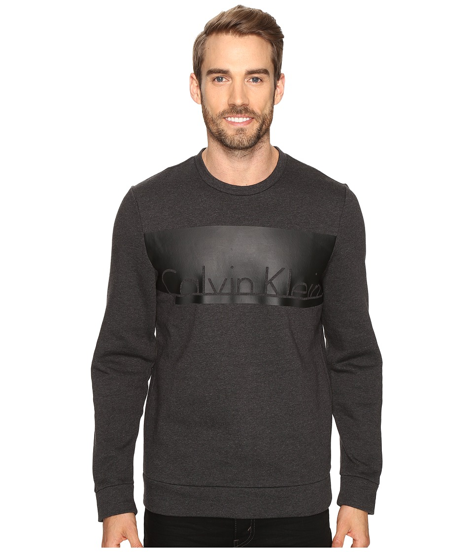 Calvin Klein - Long Sleeve Printed Crew Neck Sweatshirt (Gunmetal Heather) Men's Sweatshirt