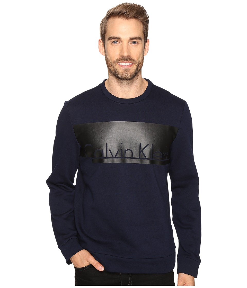 Calvin Klein - Long Sleeve Printed Crew Neck Sweatshirt (Cadet Navy) Men's Sweatshirt