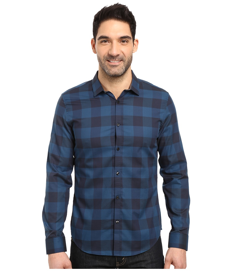 Calvin Klein - Long Sleeve Buffalo Check Button Down Shirt (Shaded Spruce) Men's Long Sleeve Button Up