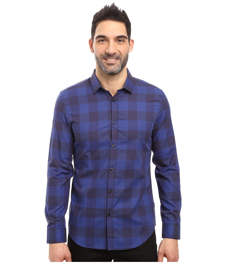 Calvin Klein - Long Sleeve Buffalo Check Button Down Shirt (Blue Rush) Men's Long Sleeve Button Up
