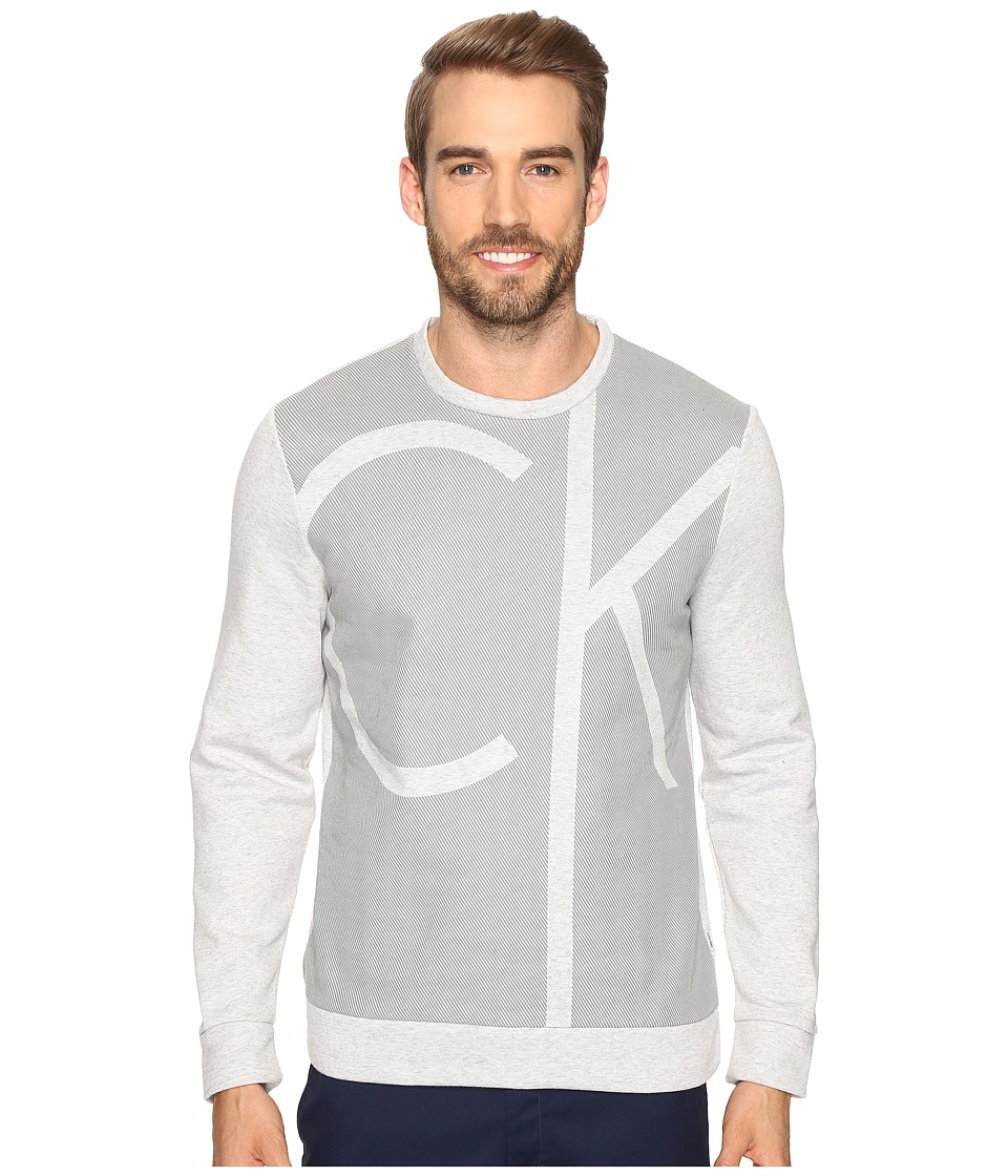 Calvin Klein - Long Sleeve Color Blocked Printed Crew Neck Shirt (Cool Gris Heather) Men's Clothing