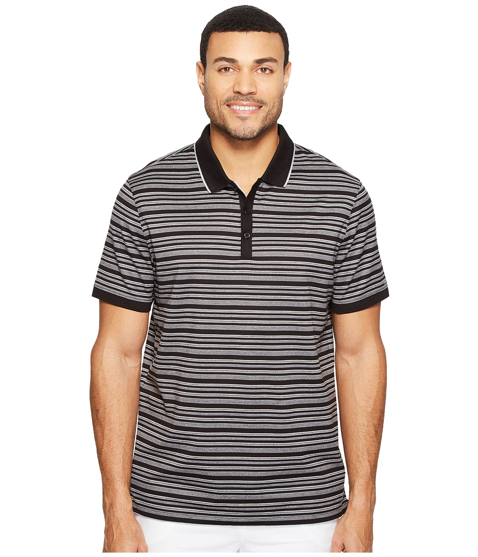 Calvin Klein - Short Sleeve Textured Stripe Polo Shirt (Black) Men's Clothing
